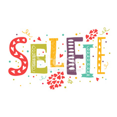 Vector lettering Selfie with decorative elements