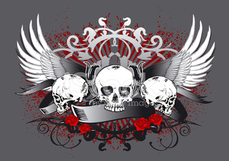 three skulls with wings and floral background
