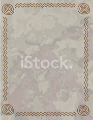 Tan and Beige Textured Grunge with  Line-art Design Frame Border