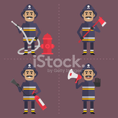 Firefighter in various poses holding tool