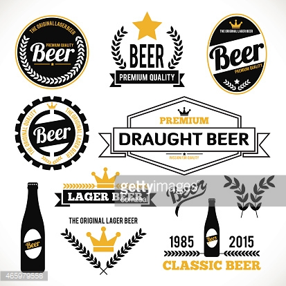 A collection of different type of beer labels
