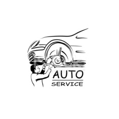 Auto service silhouette abstract, vector illustration