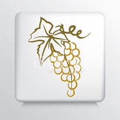 Square Icon with Golden Grape Bunch and Leaf