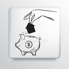 Square Icon with Hand Dropping Small House in Piggy Bank