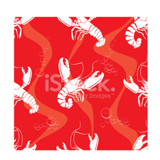 Lobsters, Seamless Pattern
