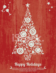 Plates and Cutlery Tree Design Happy Holiday Poster on Woodgrain