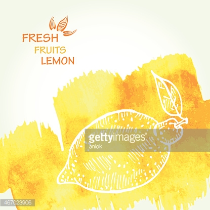 Watercolor background with lemon in vector.