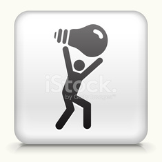 Square Button with Person Carrying Ligh Bulb