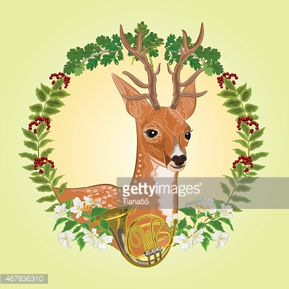 Young deer hunting theme vector