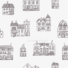 seamless with hand drawn houses