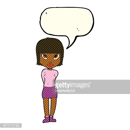 cartoon woman standing with speech bubble