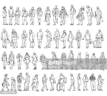Silhouettes of walking people. Sketch collection