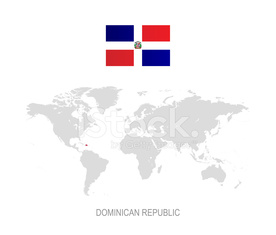 Flag of Dominican Republic and Designation on World Map ...