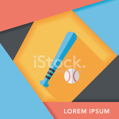 Baseball flat icon with long shadow,eps10