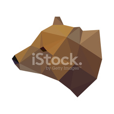 Abstract polygonal geometric triangle bear head isolated on whit