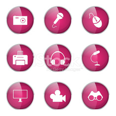 Electronic Equipment Pink Vector Button Icon Design Set