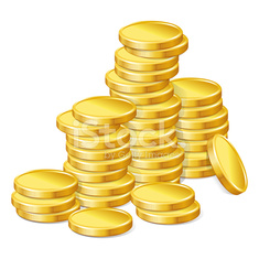 Stacks of gold coins on white background