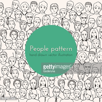 patetrn with illustration group of people of different nurture