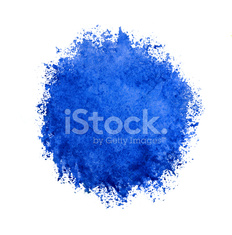 Colorful watercolor circle, blue drop on white background.