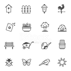 Vector icon set of garden tools and accessories