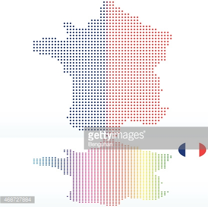 Map of French Republic, France with Dot Pattern