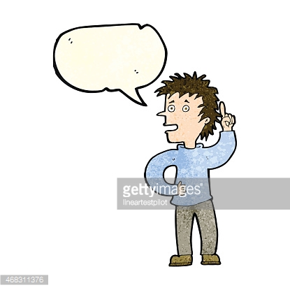 cartoon boy with idea with speech bubble