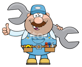 Mechanic Holding A Huge Wrench