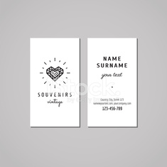 Gift shop and jewelery store business card design concept (heart).