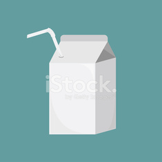Vector white blank milk, juice small carton boxes with straws