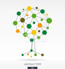 Technology network vector tree with integrated circles. Growth a