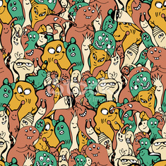 Monsters seamless background