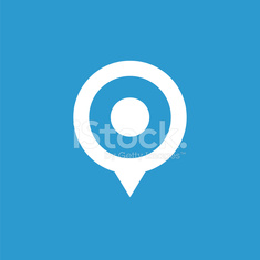 map pin icon, white on the blue background