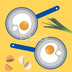 Square composition of poached eggs in blue pans.
