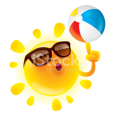 Summer sun with beach ball