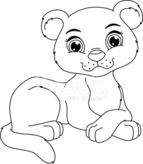 Panther Cub Coloring Page stock photos - VectorHQ.com
