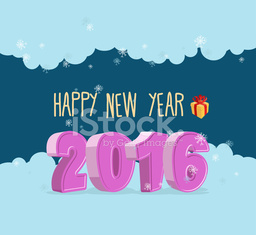 Happy new year 2016. Christmas greeting card.