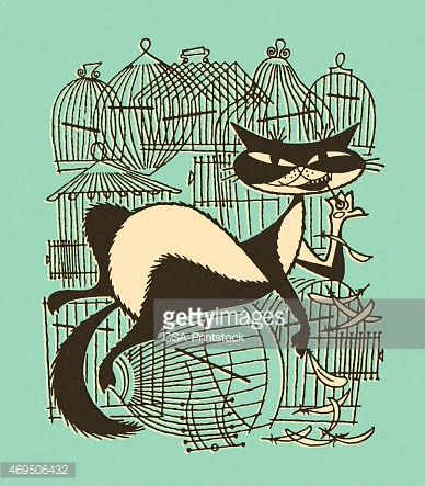 Naughty Cat With Empty Birdcages