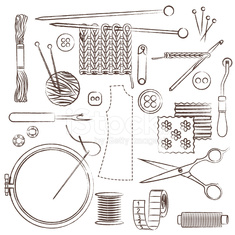 Hand drawn sewing and needlework related symbols