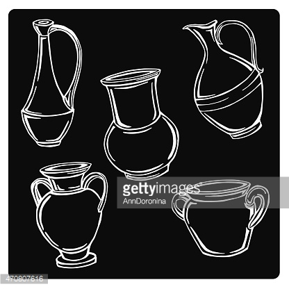 vector illustration of silhouettes pitchers