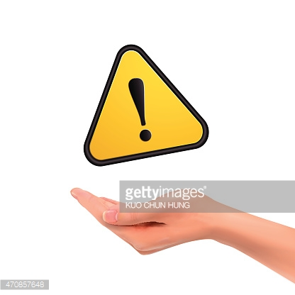 3d hand holding warning sign