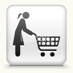 White Square Button with Shopping Woman Icon