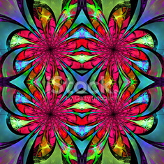 Pattern from fractal Flowers. Blue, green and pink palette.