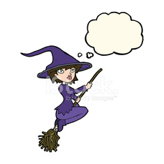 cartoon witch riding broomstick with thought bubble