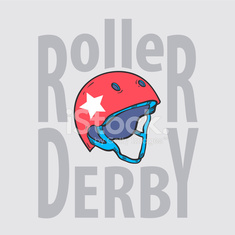 Roller derby helmet typography, t-shirt graphics, vectors