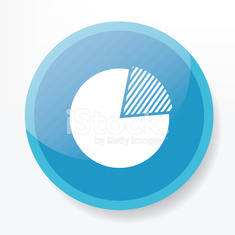 Circle chart design on blue button,clean vector
