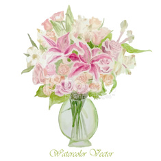 Vector bouquet of pink, yellow and white roses