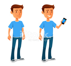 cool cartoon guy with cell phone