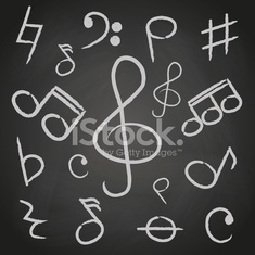 music note icons on black board eps10
