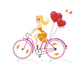 Girl in love goes by bicycle