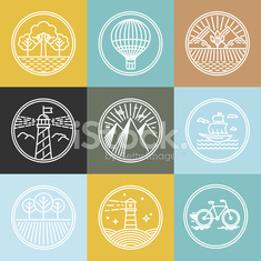 Vector set of travel badges in trendy linear style